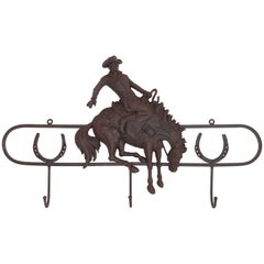 Iron Hat Rack with Bucking Bronco