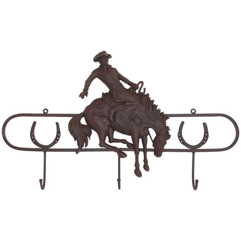 Iron Hat Rack with Bucking Bronco