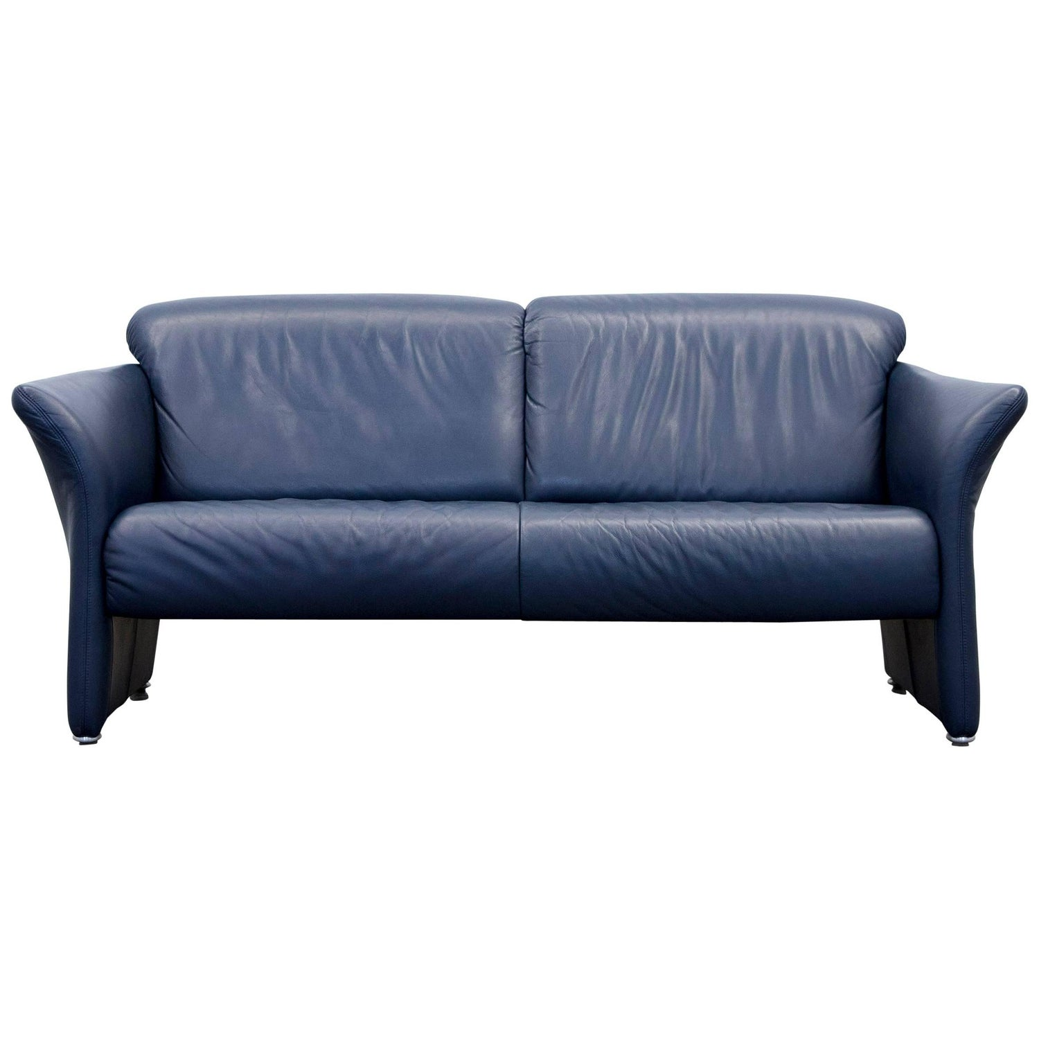 Koinor Designer Sofa Set Leather Dark Blue Two Seat Chair Couch