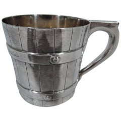 Victorian Scottish Sterling Silver Novelty Barrel Christening Mug