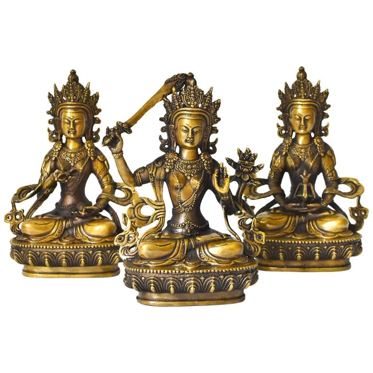 Fine Brass Tibetan Buddhas, Set of Three