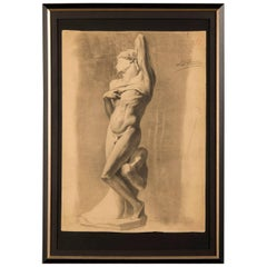 Antique French 19th Century Drawing from a Royal Academy Class, circa 1880