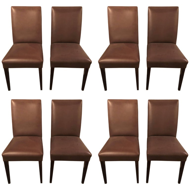 Set of Eight Midcentury Leather Side Chairs