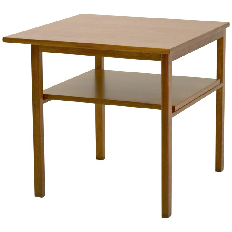 Low Two-Tier Lamp Table by Dunbar with Cantilevered Top in Walnut