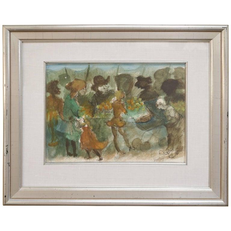 Watercolor of a Market Scene by Walter Peregoy