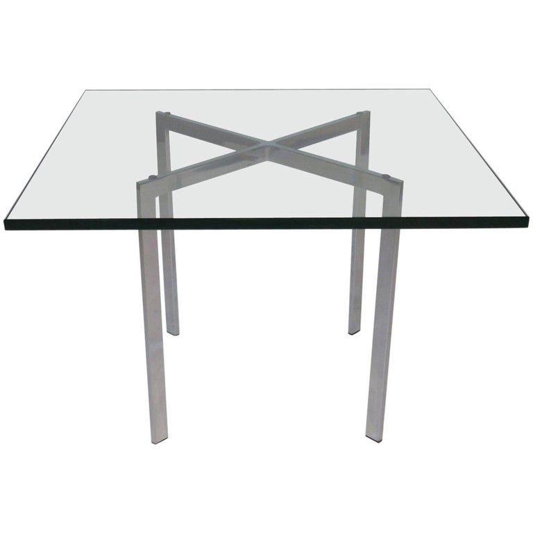 Barcelona X-Based Plate Glass End Table in the Style of Knoll