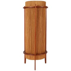Mid-Century Modern Walnut & Rope Table Lamp After Nakashima, Danish Style