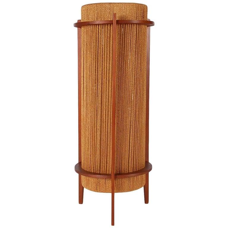 Mid-Century Modern Walnut & Rope Table Lamp After Nakashima, Danish Style