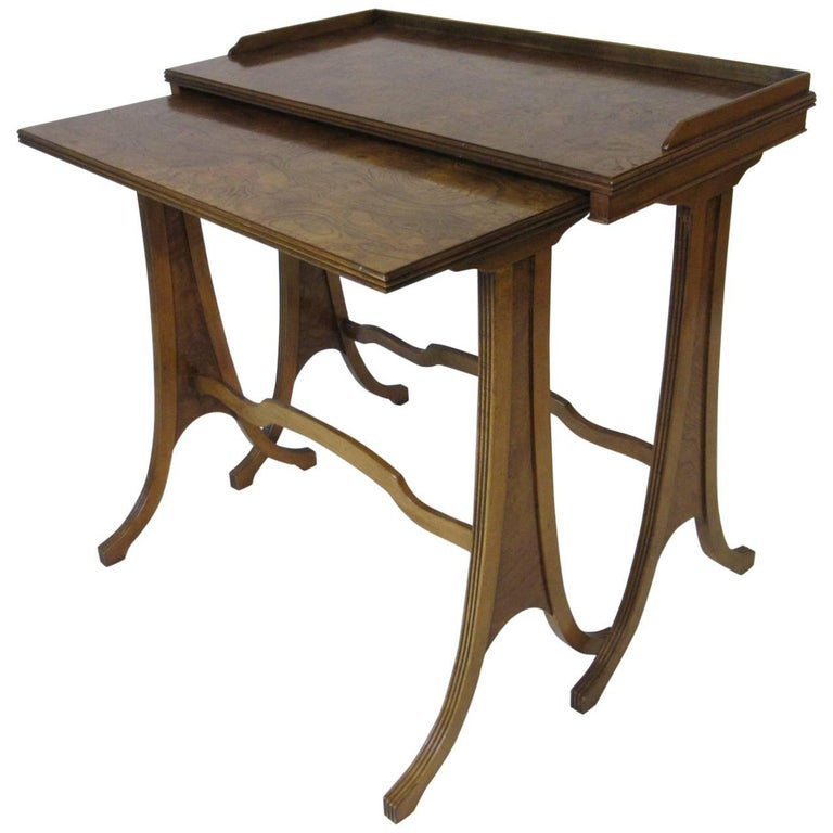 Baker burl wood nesting side tables at stdibs