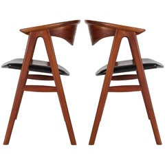 Midcentury Danish Modern Walnut Armchairs or Dining Chairs by Erik Kirkegaard