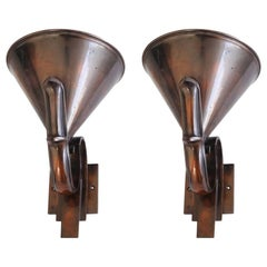 Pair of French High Art Deco Solid Bronze Torchiere or Uplighter Wall Sconces
