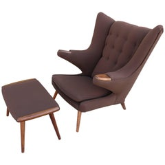 """Papa Bear"" Chair with Ottoman in the Manner of Hans Wegner"