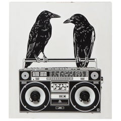 One of a Kind, Hand-Painted, Mixed-Media Wall JVC Boombox by Dylan Egon
