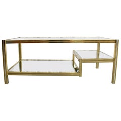 Golden Coffee Table with Two-Tiered Glass Tops, 1970s