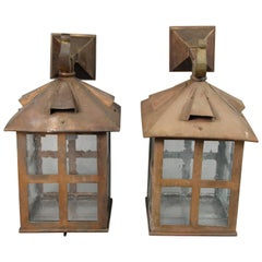 Large Scale Antique Pair of Copper Arts & Craft Wall Mounted Lanterns