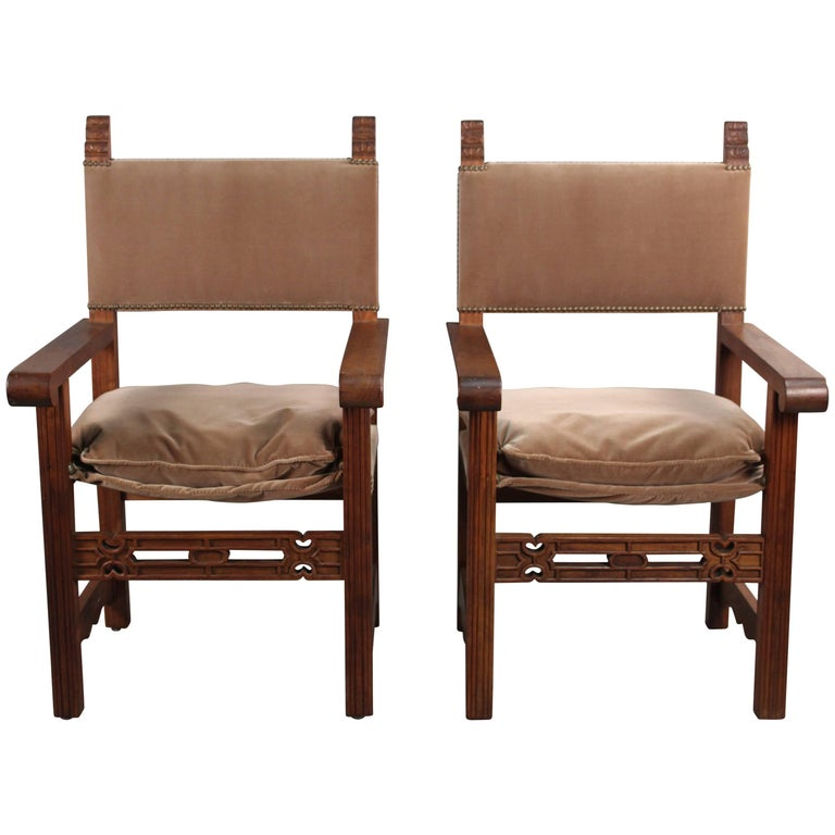 Pair of 1920s Spanish Revival Walnut Armchairs with New Velvet Upholstery