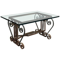Spanish Revival Iron Coffee Table with Glass Top, circa 1920s
