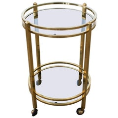 Vintage Brass and Smoked Glass Two-Tier Side Table