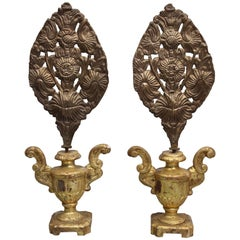 Pair of Antique 19th Century European Religious Repousse Ornaments