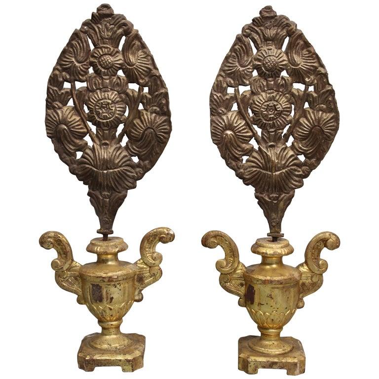 Vintage Religious Christmas Ornament: Pair Of Antique 19th Century European Religious Repousse