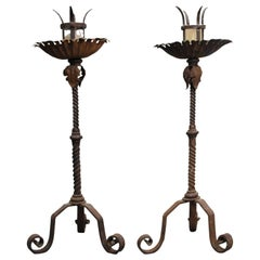 Antique Pair of 1920s Wrought Iron Tall Candlesticks