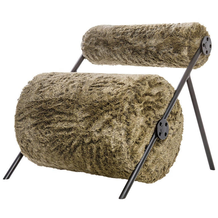 Fur Armchair in Brazilian Contemporary Style For Sale
