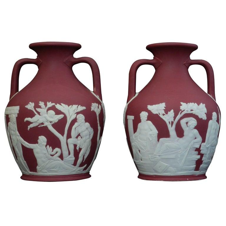 Pair of Crimson Jasper Portland Vases