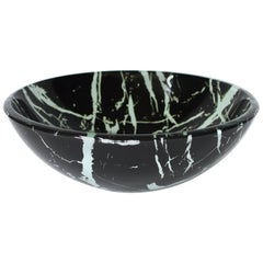 Black and White Glass Sink with Marble Pattern