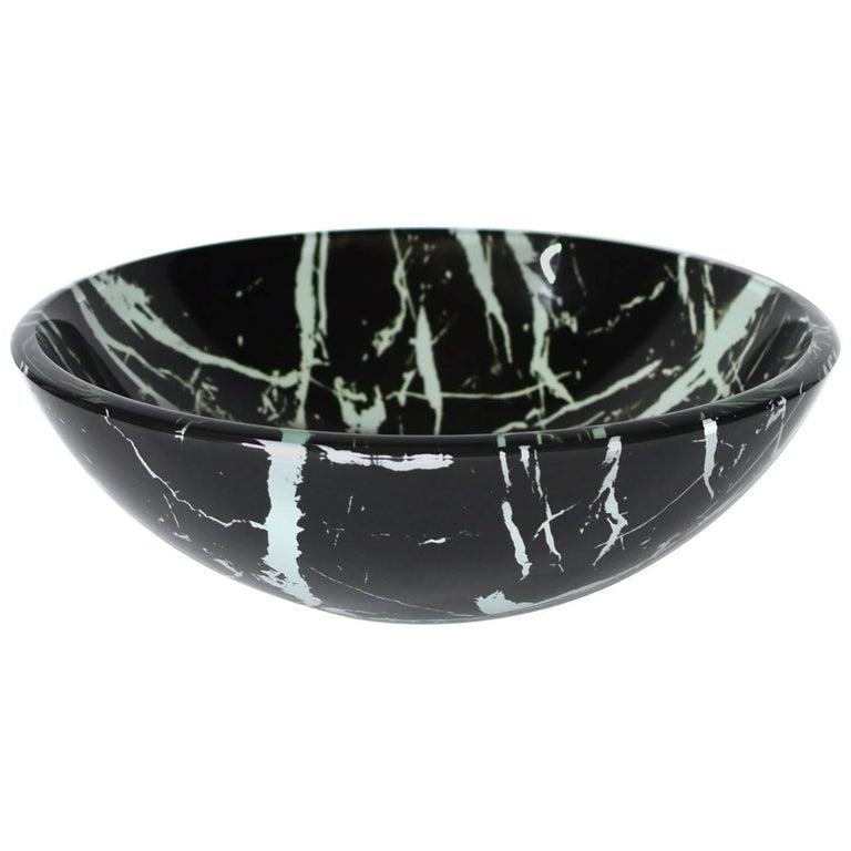 Black and White Glass Sink with Marble Pattern For Sale