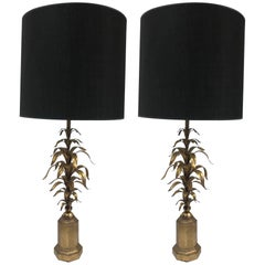 Pair of Italian Gilt Floral Lamps