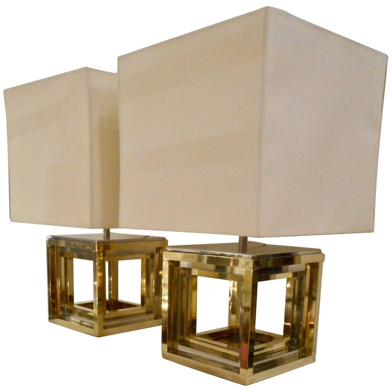 Fine Pair of 1970s Cubist Table Lamps Signed by Romeo Rega, Italy