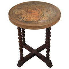 1920s Spanish Revival Side Table with Brass Etched Dragon Motif Top
