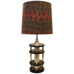 Tiered Stained Wood and Chrome Table Lamp