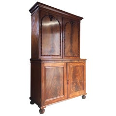 Antique Regency Cabinet Linen Press Housekeepers Cupboard Mahogany, circa 1820