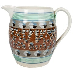 Large Mochaware Jug with Cat's Eye Decoration