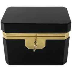 Fine Black Opaline Bronze-Mounted Table Box, with Key
