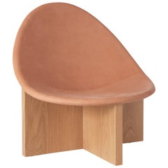 Nido Modern Lounge Chair, White Oak Base & Blush Leather seat by Estudio Persona