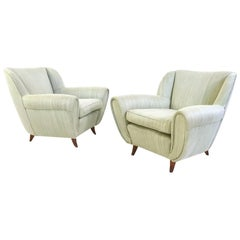 Pair of Pear Colored Armchairs with Wooden Structure, Italy, 1950s