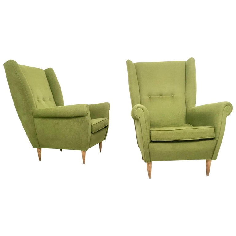 Pair of Olive Green Armchairs in the Style of Gio Ponti, Italy, 1950s