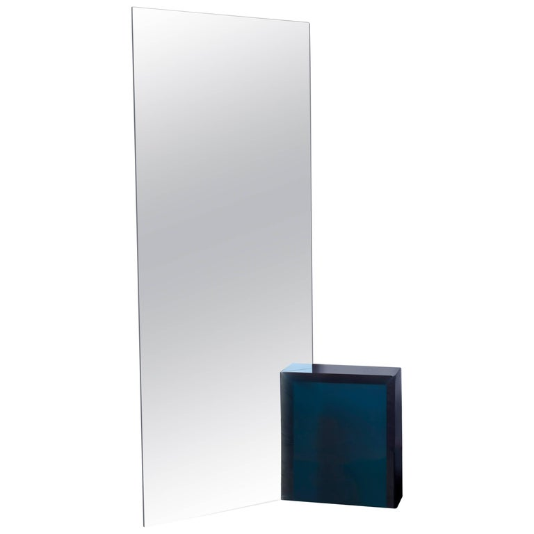 Contemporary 'Deux' One-way Mirror by Sabine Marcelis, Blue Resin Block For Sale