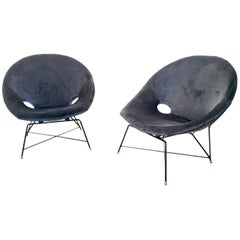 Pair of Blue Velvet Lounge Chairs by Augusto Bozzi for Saporiti, Italy, 1950s