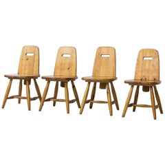 "Set of Scandinavian Pine Chairs ""Pirrti"" by Eero Aarnio, Finland, 1960s"