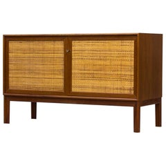 Scandinavian Modern Teak and Rattan Sideboard by Alf Svensson, Sweden