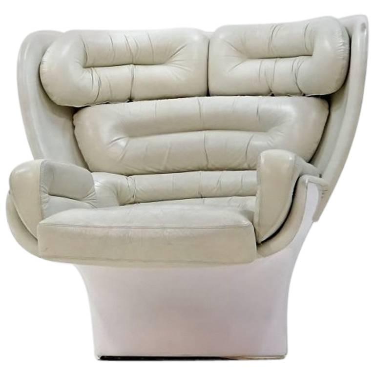 Joe Colombo Elda Lounge Armchair for Comfort Italy Design Leather, 1963