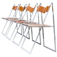 1960s Fontoni & Geraci 'Elios' Folding Chairs Set of Four