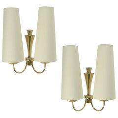 Pair of 1950s Arlus Brass Sconces