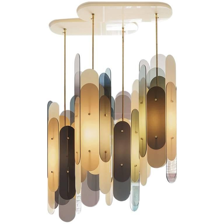 Contemporary Chandelier STAFA in Brass and Plexiglass in various translucencies For Sale