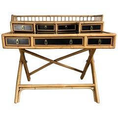 Classic Bamboo and Lacquer Campaign Desk E. Murio Collection