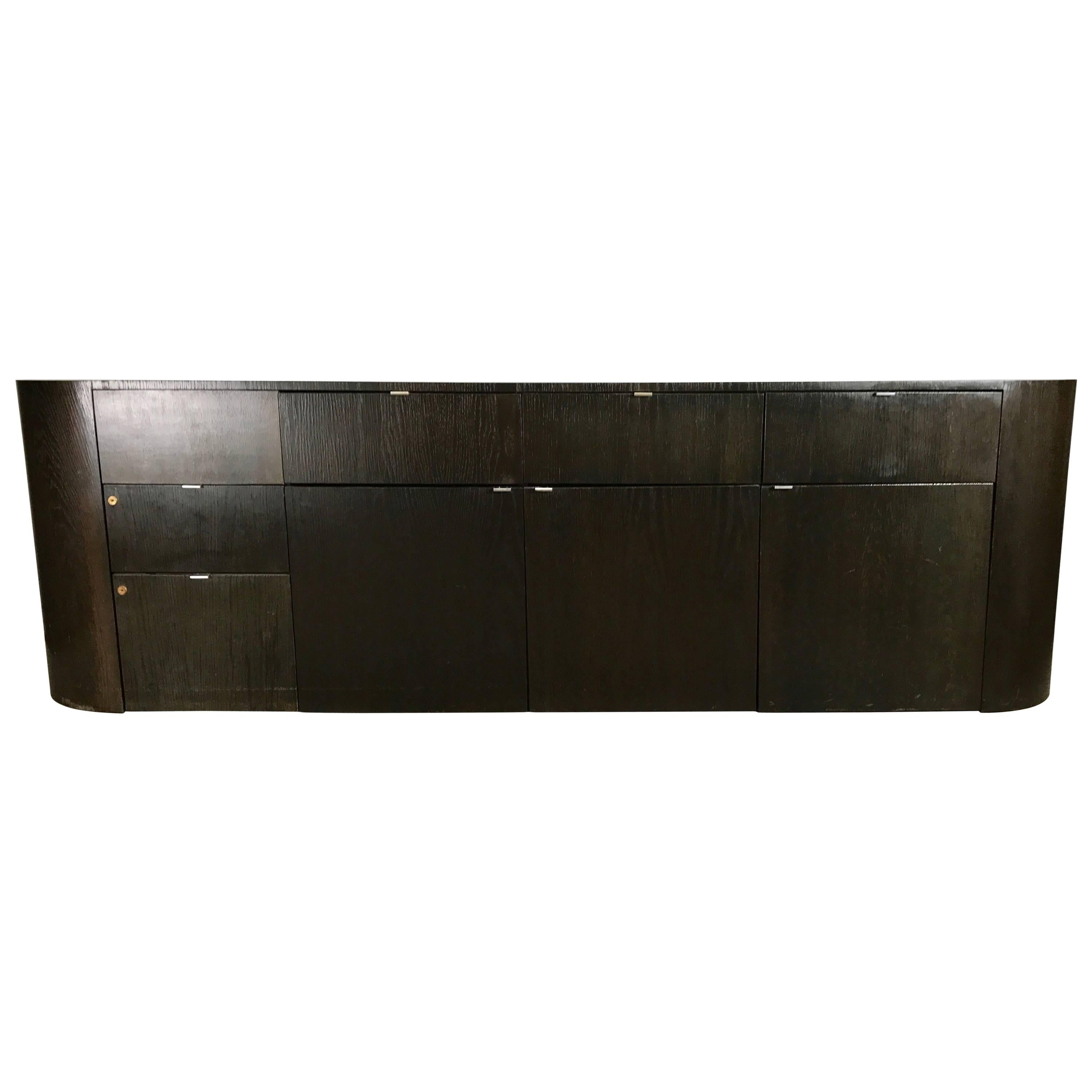 Stunning Contemporary Modern Oval Cerused Credenza Sideboard, Italy