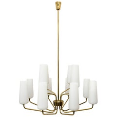 Beautiful Big Twelve-Light Italian Brass Chandeliers with Glass